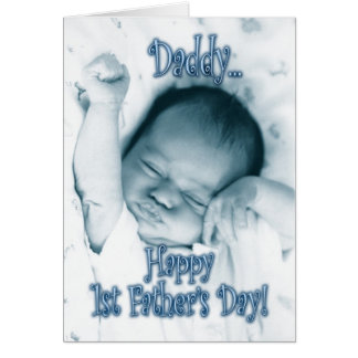 First Father's Day from Son - Stretching Baby Boy Greeting Card