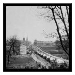 First Federal Wagon Train Entering Town 1865 Poster