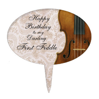 First Fiddle Happy Birthday, Violin Lace Look Cake Toppers