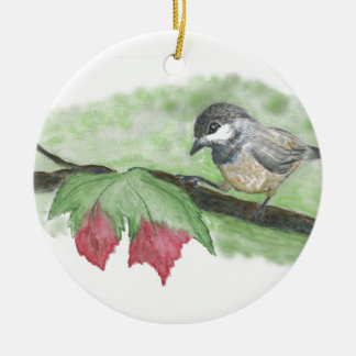 First frost for Chick-a-Dee Round Ceramic Decoration