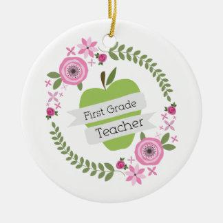 First Grade Teacher Green Apple Floral Wreath Christmas Ornament