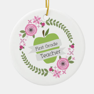 First Grade Teacher Green Apple Floral Wreath Round Ceramic Decoration