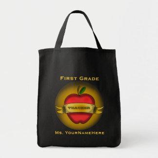 First Grade Teacher Grocery Bag - Apple Tattoo