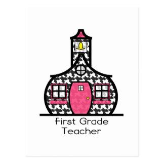 First Grade Teacher Houndstooth Schoolhouse Postcard