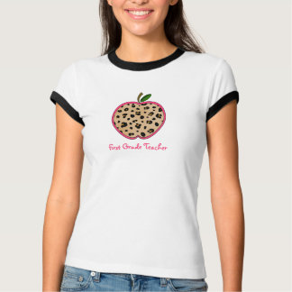 First Grade Teacher Leopard Print Apple Tee Shirts