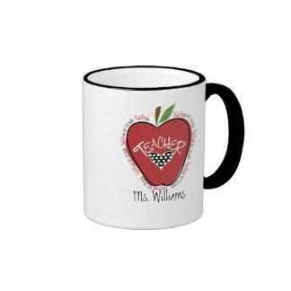 First Grade Teacher Red Apple Ringer Mug