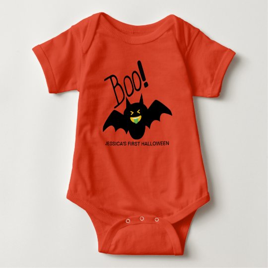 First Halloween Cute Funny Smiling Bat Baby Bodysuit