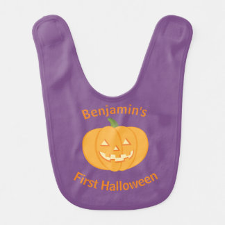 First Halloween Pumpkin Bib
