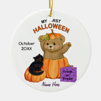 First Halloween Teddy Christmas Ornament
