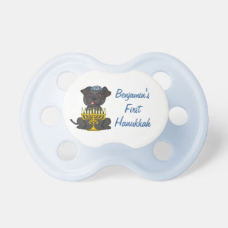 First Hanukkah+Baby Name-Cute Pug with Menorah Dummy