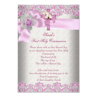 First Holy Communion 1st Cross Girls Cream Pink Personalized Invite