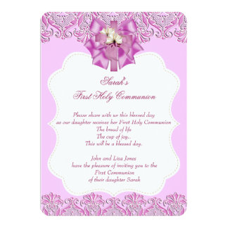 First Holy Communion 1st Cross Girls Lace Pink Personalized Announcement