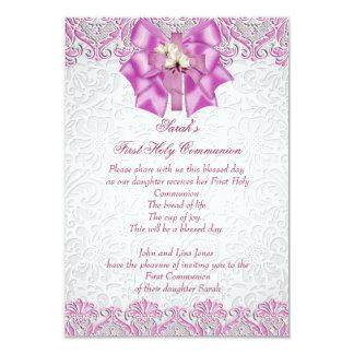 First Holy Communion 1st Cross Girls Lilac Pink 9 Cm X 13 Cm Invitation Card