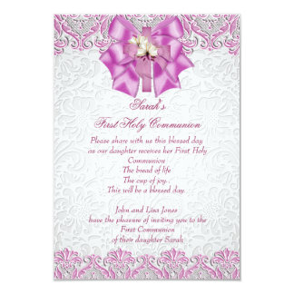 "First Holy Communion 1st Cross Girls Lilac Pink 3.5"" X 5"" Invitation Card"