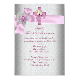 First Holy Communion 1st Cross Girls Pink Gray 9 Cm X 13 Cm Invitation Card