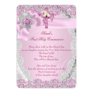 First Holy Communion 1st Cross Girls Pink Lace 13 Cm X 18 Cm Invitation Card
