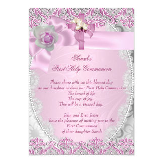 "First Holy Communion 1st Cross Girls Pink Lace 5"" X 7"" Invitation Card"