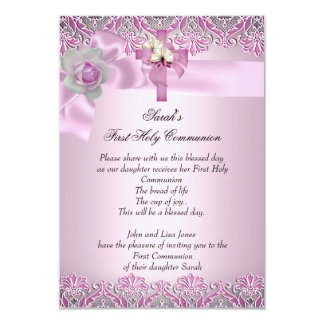First Holy Communion 1st Cross Girls Pretty Pink 9 Cm X 13 Cm Invitation Card