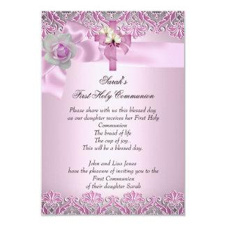 First Holy Communion 1st Cross Girls Pretty Pink Custom Invites
