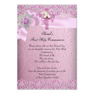 First Holy Communion 1st Cross Girls Pretty Pink Custom Invitation