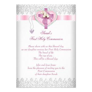First Holy Communion 1st Cross Girls White Pink 13 Cm X 18 Cm Invitation Card