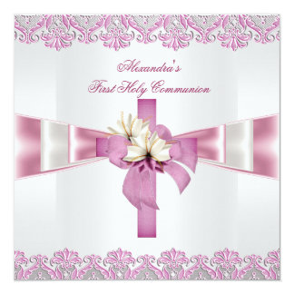 First Holy Communion 1st Cross Girls White Pink 2 13 Cm X 13 Cm Square Invitation Card