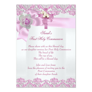 First Holy Communion 1st Cross Girls White Pink 2 13 Cm X 18 Cm Invitation Card