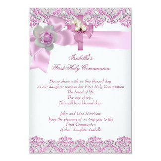 First Holy Communion 1st Cross Girls White Pink 3 9 Cm X 13 Cm Invitation Card