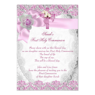 First Holy Communion 1st Cross Girls White Pink 3 5x7 Paper Invitation Card
