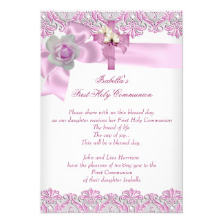 First Holy Communion 1st Cross Girls White Pink 3 Announcements