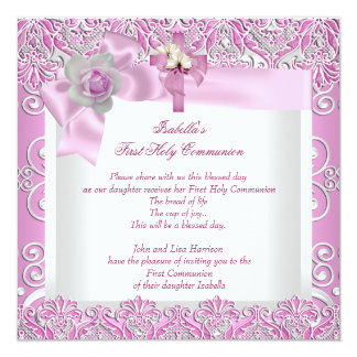 First Holy Communion 1st Cross Girls White Pink 4 13 Cm X 13 Cm Square Invitation Card