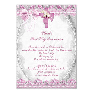 First Holy Communion 1st Cross Girls White Pink 4 13 Cm X 18 Cm Invitation Card
