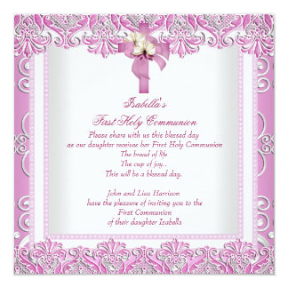 First Holy Communion 1st Cross Girls White Pink 5 Personalized Announcement
