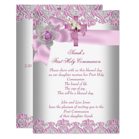 First Holy Communion 1st Cross Girls White Pink Card Zazzlecouk