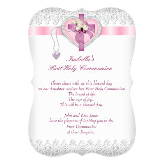 First Holy Communion 1st Cross Girls White Pink Fl 13 Cm X 18 Cm Invitation Card
