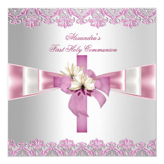 "First Holy Communion 1st Cross Girls White Pink 5.25"" Square Invitation Card"