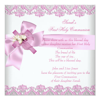 First Holy Communion 1st Cross Girls White Pink Personalized Invitation