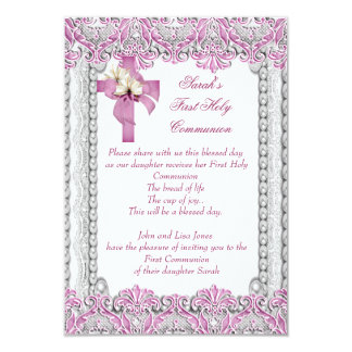 First Holy Communion 1st Cross Girls White Pink Personalized Announcement