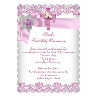 First Holy Communion 1st Cross Girls White Pink S Custom Invites