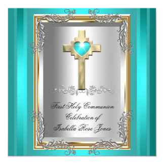 First Holy Communion 1st Girl Boy Cross Teal Blue 13 Cm X 13 Cm Square Invitation Card