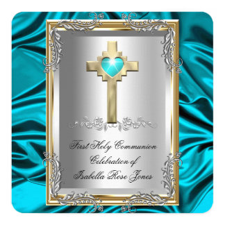 First Holy Communion 1st Girls Boy Cross Teal Blue 13 Cm X 13 Cm Square Invitation Card