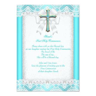 First Holy Communion 1st Girls Cross Aqua Teal 2 11 Cm X 16 Cm Invitation Card