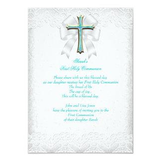 First Holy Communion 1st Girls Cross Aqua Teal 3 11 Cm X 16 Cm Invitation Card