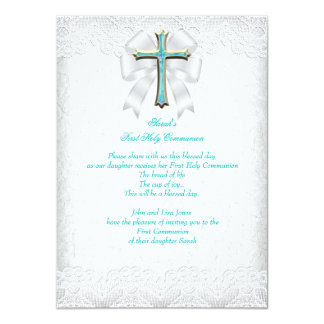 First Holy Communion 1st Girls Cross Aqua Teal 3 4.5x6.25 Paper Invitation Card