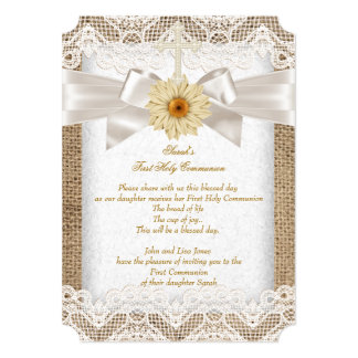 "First Holy Communion 1st Girls Cross Burlap Lace 5"" X 7"" Invitation Card"