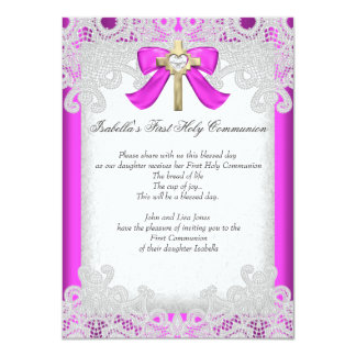First Holy Communion 1st Girls Cross Hot Pink 11 Cm X 16 Cm Invitation Card