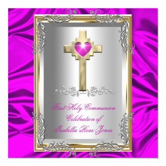 First Holy Communion 1st Girls Cross Hot Pink 13 Cm X 13 Cm Square Invitation Card