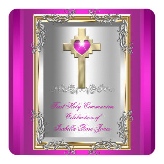First Holy Communion 1st Girls Cross Hot Pink 2 13 Cm X 13 Cm Square Invitation Card