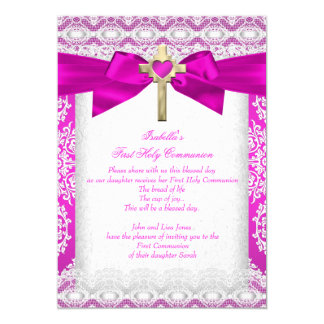 First Holy Communion 1st Girls Cross Hot Pink Lace 13 Cm X 18 Cm Invitation Card