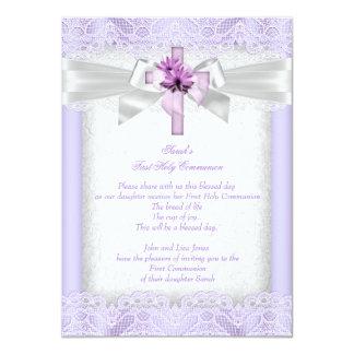 First Holy Communion 1st Girls Cross Lavender 11 Cm X 16 Cm Invitation Card